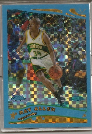 Ray Allen 2005-06 Topps Chrome Blue XFractor Card