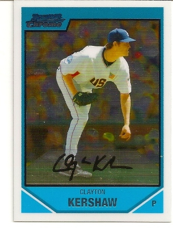 Clayton Kershaw 2007 Bowman Chrome Draft Rookie Card