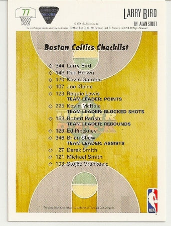 Larry Bird 1991-92 Upper Deck Checklist Card Back