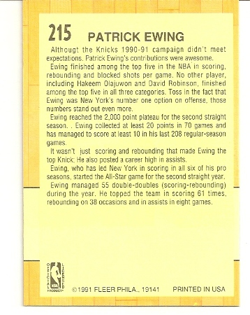 Patrick Ewing 1991-92 Fleer All-Star Card Back