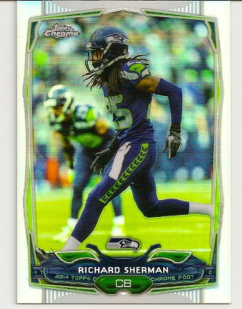 Richard Sherman 2014 Topps Chrome Refractor Card