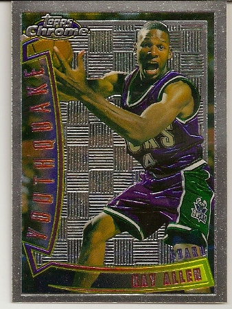 ray allen 199697 topps chrome youthquake rookie card