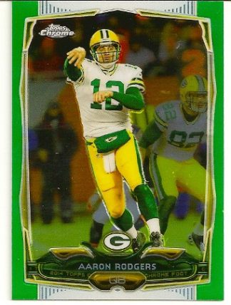 Aaron Rodgers 2014 Topps Chrome Green Refractor Card