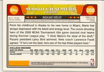 Mario Chalmers 2008-09 Topps Chrome Rookie Card Back