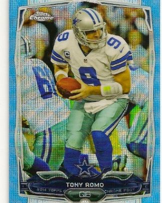 Tony Romo 2014 Topps Chrome Blue Wave Refractor Card