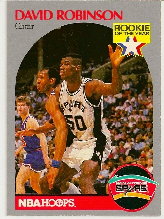 David Robinson 1990 91 Hoops Rookie Of The Year Card