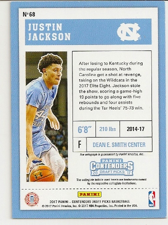 2017-18 contenders draft cracked ice justin jackson