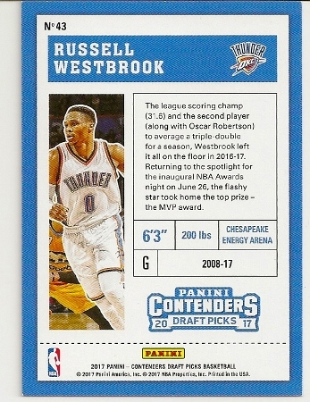 2017-18 Panini Contenders Draft Cracked Ice Russell Westbrook