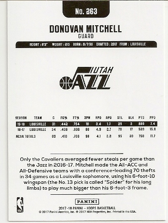 Donovan Mitchell 2017-18 NBA Hoops Rookie Card Back