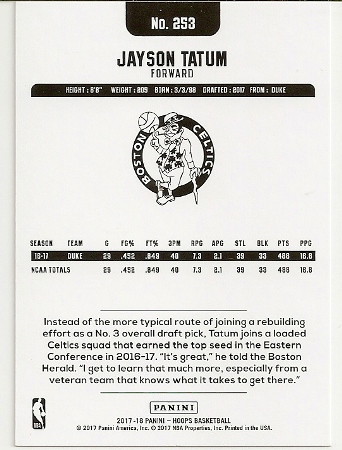 Jayson Tatum 2017-18 NBA Hoops Rookie Card Back