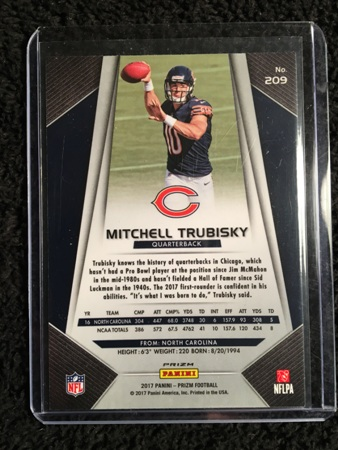 Mitchell Trubisky 2017 Panini Prizm Rookie Card Back