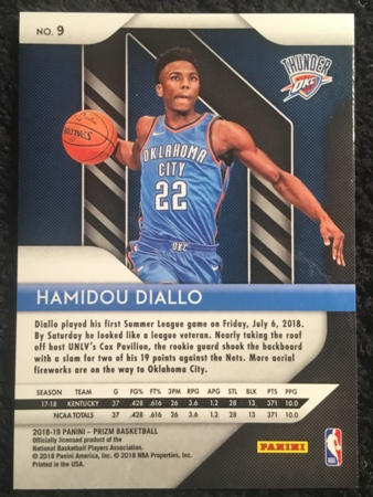 hamidou diallo-2018-19-panini-prizm-rookie-card-back