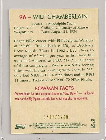 wilt chamberlain insert basketball card