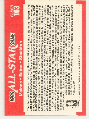 John Stockton and Karl Malone 1989-90 Fleer All-Star Card