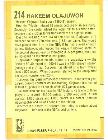 Hakeem Olajuwan 1991-92 Fleer All-Star Card Back