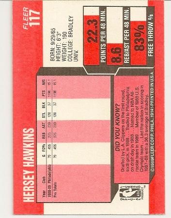 Hersey Hawkins 1989-90 Fleer Rookie Card Back