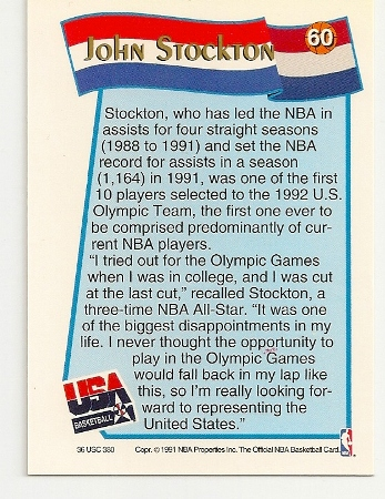 John Stockton 1991-92 Hoops USA McDonald's Card Back