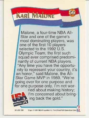 Karl Malone 1991-92 Hoops USA McDonald's Card Back