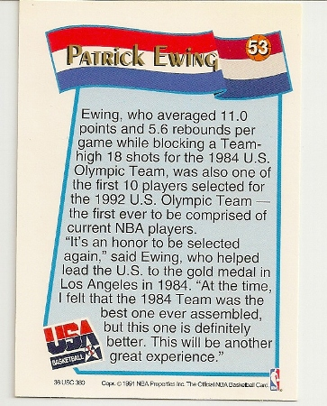 Patrick Ewing 1991-92 Hoops USA McDonald's Card Back