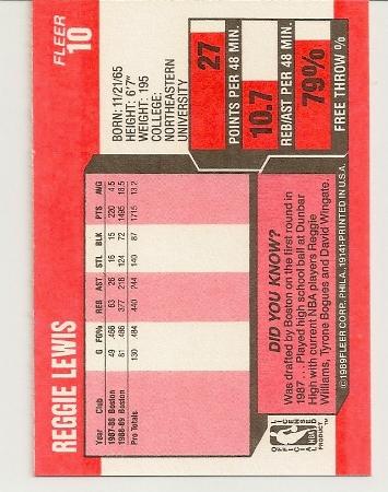 Reggie Lewis 1989-90 Fleer Rookie Card Back