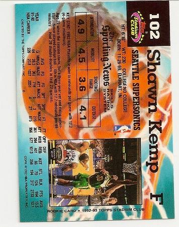 Shawn Kemp 1992-93 Topps Stadium Club Back