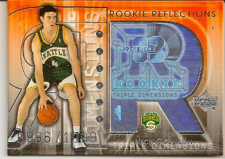 Nick Collison 2003-04 Triple Dimensions 3-D Rookie Reflections Rookie Card