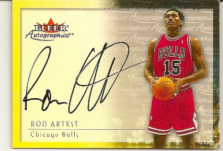 Ron Artest 2000-01 Fleer Skybox Autographics Basketball Card