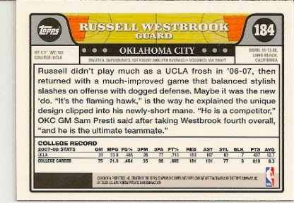 Russell Westbrook 2008-09 Topps Chrome Rookie Card Back