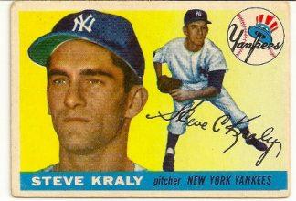 Steve Kraly 1955 Topps Baseball Rookie Card