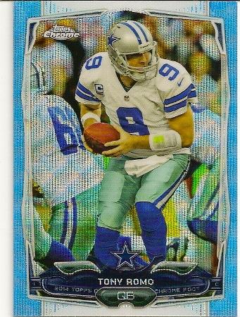 Tony Romo 2014 Topps Chrome Blue Wave Refractor Card