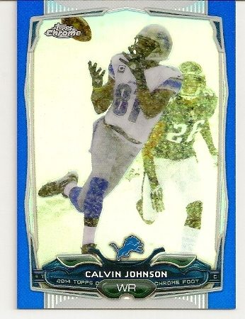Calvin Johnson 2014 Topps Chrome Blue Refractor Card /199