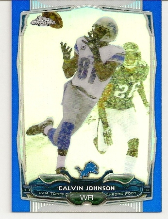 Calvin Johnson 2014 Topps Chrome Blue Refractor Card /199