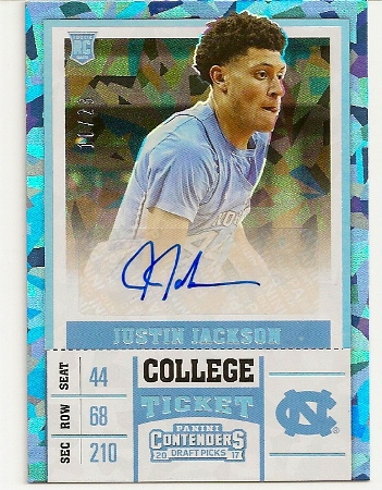 Justin Jackson 2017-18 Contenders Draft Cracked Ice Rookie Card
