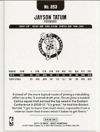 Jayson Tatum 2017-18 NBA Hoops Rookie Card Back