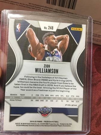 2019-20-panini-prizm-orange-cracked-ice-zion-williamson