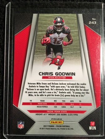 Chris Godwin 2017 Panini Prizm Rookie Card Back
