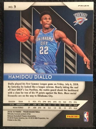 hamidou diallo-2018-19-panini-prizm-red-white-blue-rookie-card-back